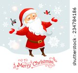 santa claus with bullfinches....   Shutterstock .eps vector #234784186