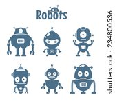 set of cute flat robots | Shutterstock .eps vector #234800536
