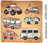 Retro Cars Icons Set For Your...
