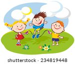 three kids playing jumping rope ...   Shutterstock .eps vector #234819448