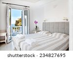 hotel room with bed and view in ... | Shutterstock . vector #234827695