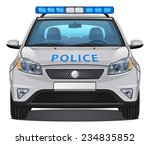 Vector Police Car  3   Front...