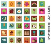 Nature Icons In Bright Colors