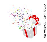 open gift with confetti vector... | Shutterstock .eps vector #234872932