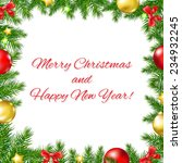 xmas fir tree frame with red... | Shutterstock .eps vector #234932245