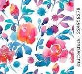 flowers  watercolor  pattern | Shutterstock . vector #234958378
