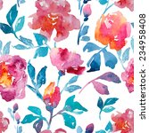 watercolor  rose  background | Shutterstock . vector #234958408