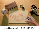 """hand drawing the words """"help""""   Shutterstock . vector #235036462"""