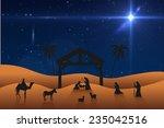 nativity scene against bright... | Shutterstock . vector #235042516