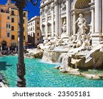 Popular sightseeing Trevi fountain in Rome, Italy - stock photo