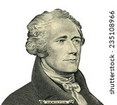 Small photo of Portrait of U.S. president Alexander Hamilton as he looks on ten dollar bill obverse. Clipping path included.