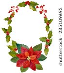 watercolor christmas wreath and ... | Shutterstock . vector #235109692