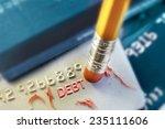 a pencil erasing credit card ... | Shutterstock . vector #235111606