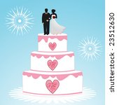 bride and groom on wedding cake | Shutterstock .eps vector #23512630