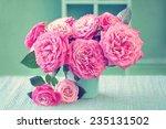 Beautiful Fresh Roses In A Vas...