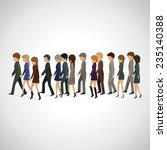 people walking in line  ... | Shutterstock .eps vector #235140388