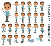 set of various poses of black's ... | Shutterstock .eps vector #235154986