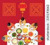chinese new year reunion dinner ... | Shutterstock .eps vector #235193662