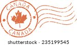red postal grunge stamp 'canada' | Shutterstock .eps vector #235199545