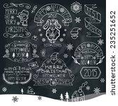 vintage doodles merry christmas ... | Shutterstock .eps vector #235251652