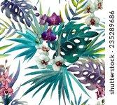 Stock photo jungle pattern watercolor 235289686