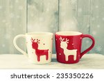 retro photo of two cute coffee... | Shutterstock . vector #235350226