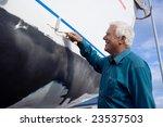 the senior man happy painting...   Shutterstock . vector #23537503