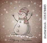 Sketch Style Hand Drawn Snowma...