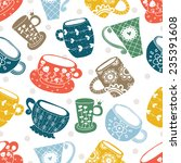 Colorful Cups. Vector Seamless...