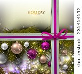 christmas background with balls.... | Shutterstock .eps vector #235454512