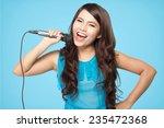 Beautiful Stylish Woman Singing ...