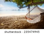 young lady relaxing in the... | Shutterstock . vector #235474945