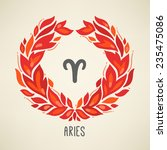zodiac sign aries  the ram  in... | Shutterstock .eps vector #235475086