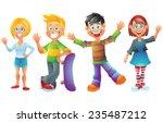 kids  boys and girls  cartoon... | Shutterstock . vector #235487212