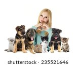 Stock photo girl and cat and dog 235521646
