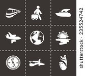 vector travel icon set on black ... | Shutterstock .eps vector #235524742