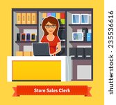 sales clerk working with...   Shutterstock .eps vector #235536616