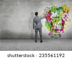 back view of businessman... | Shutterstock . vector #235561192