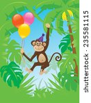 Monkey With Balloons Hanging...