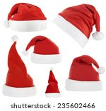 collage of santa hats isolated... | Shutterstock . vector #235602466
