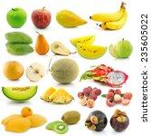 set of fruit on white background   Shutterstock . vector #235605022
