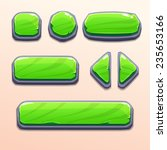 set of cartoon green stone...