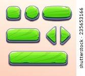 set of cartoon green stone...