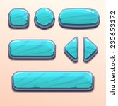 set of cartoon blue stone...