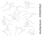 hands in different gestures and ... | Shutterstock .eps vector #235653562