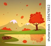 lake with boat  cartoon autumn... | Shutterstock .eps vector #235670812
