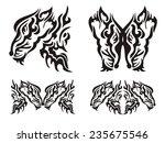 tribal tattoo wild fox elements | Shutterstock .eps vector #235675546
