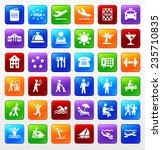 travel on multi color square... | Shutterstock .eps vector #235710835