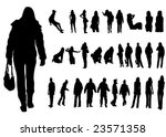 urban woman and man silhouette... | Shutterstock .eps vector #23571358