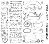 doodles arrow hearts crown love ... | Shutterstock .eps vector #235741066